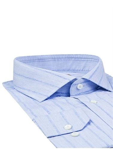 Damat 9Df02Co08221 Slim Fit Desenli Erkek Takım Elbise Mavi
